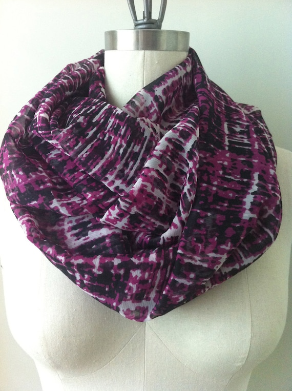chunky geometric patterned infinity scarf, doubled sheer silk, pink, black, white