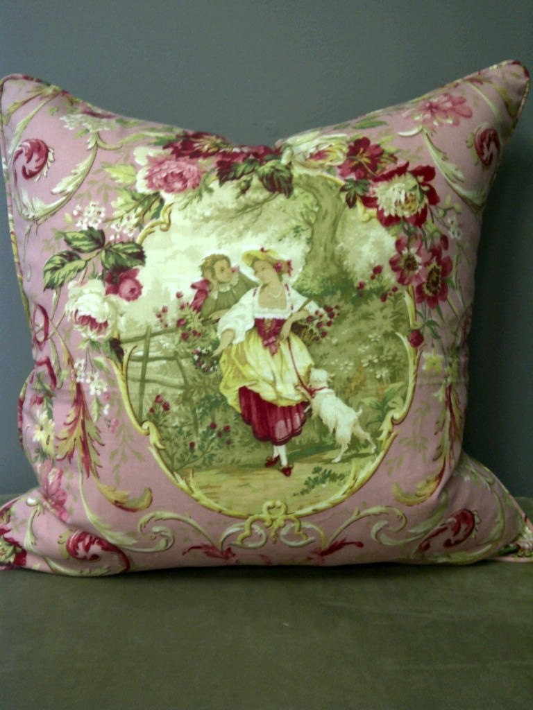 20x20 shabby chic pillow cover pink romantic scene with linen