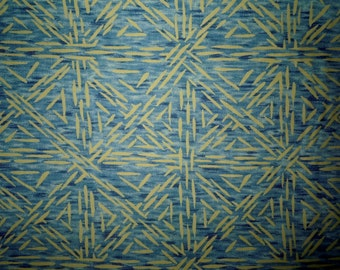 Gail Kessler Andover cotton fabric in blue and green for quilting, 1 yd.