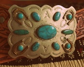 1970's Vintage Southwestern Turquoise Leather Belt