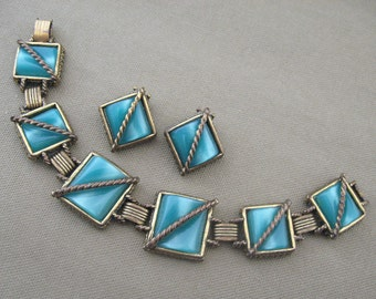 BRacelet set,  chunky bracelet, vintage set, vintage bracelet, bracelet with earrings, teal blue bracelet, teal blue jewelry, teal blue set