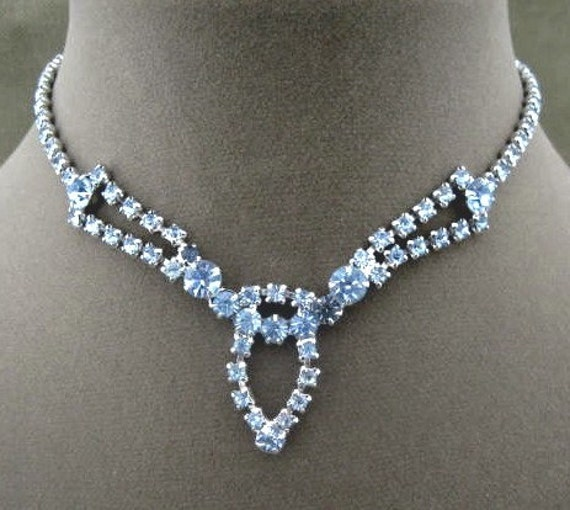 vintage baby blue rhinestone necklace by chickenlittlejewelry