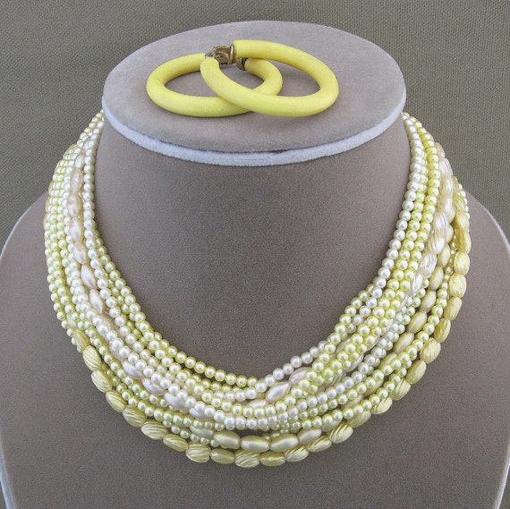 Yellow Beaded Set, vintage, multi strand, necklace with earrings