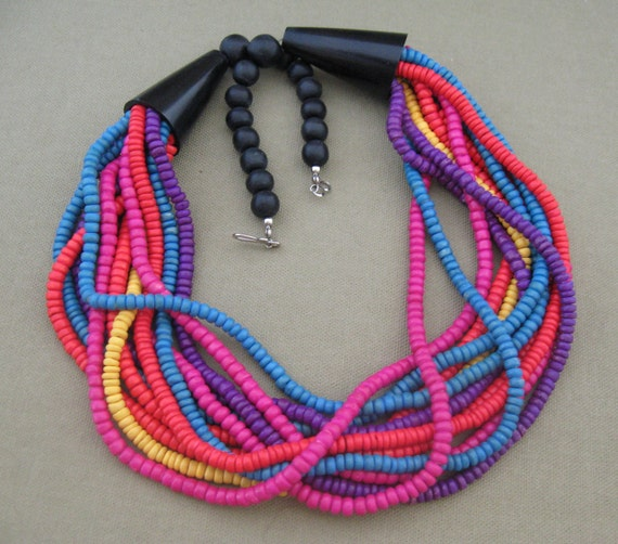 Bright Colors Multi Strand Necklace, Wood Bead Necklace