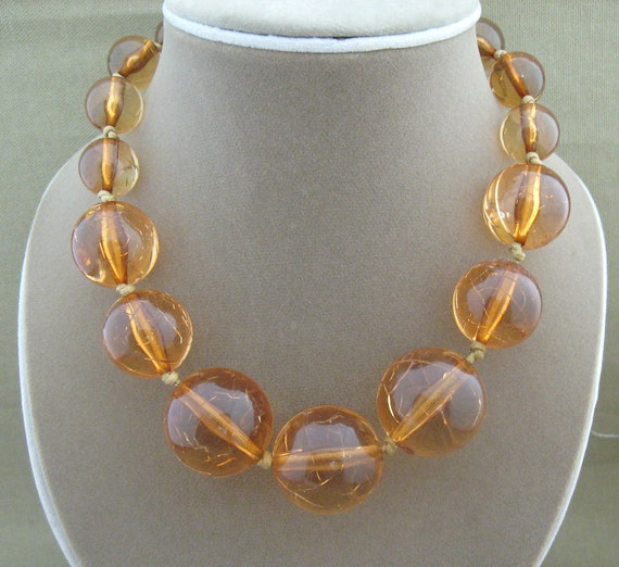 Vintage Beaded Amber Color Strand Necklace Chunky Style