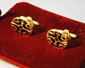 Vintage nos Cuff Links / Gold with Black Design / Gifts for him / Stocking Stuffer / Man Jewelry