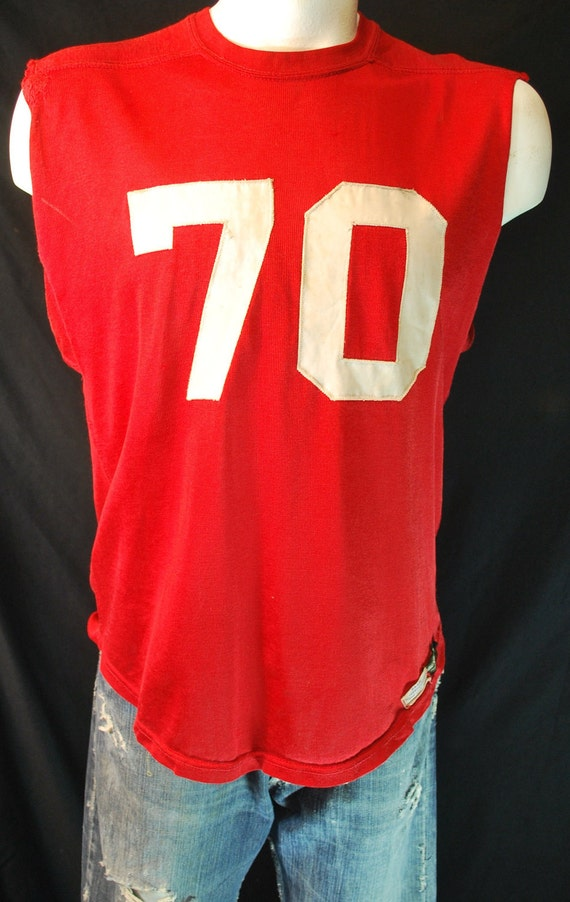 Vintage football Jersey MacGregor cut off sleeve jersey number 70 red large