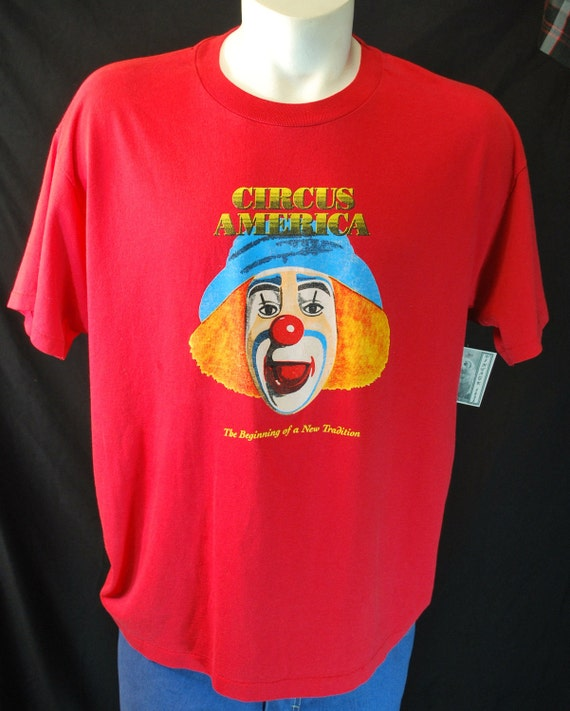 70s 80s Circus America clown Vintage Tshirt red super soft