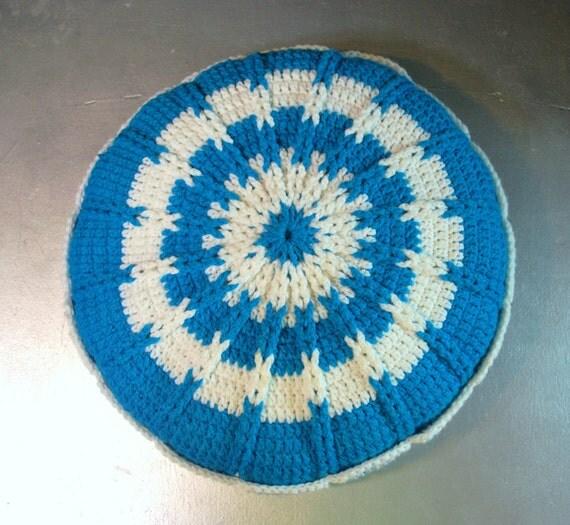 Vintage  Crochet Pillow Grandmas Crocheted Pillow 1970s Retro Mod Decor Handmade