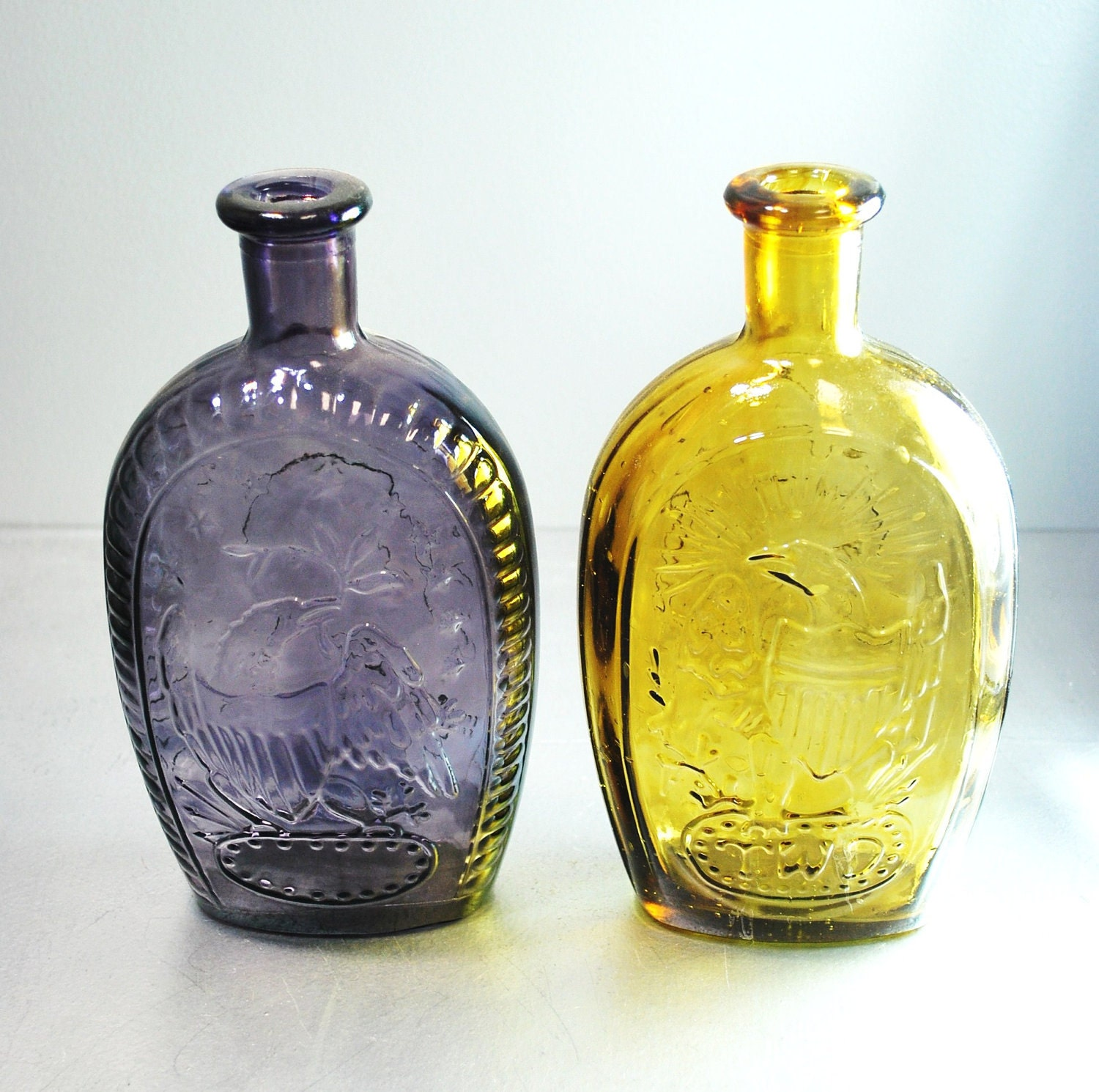 Sale Reduced Price Large Purple And Amber Glass Bottles / Vtg