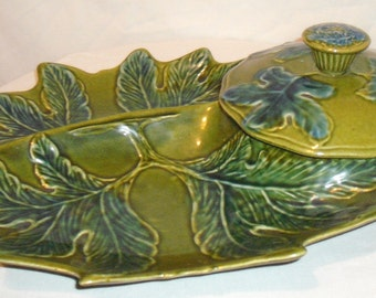 Green Floral Leaf Chips and Dip platter Calif