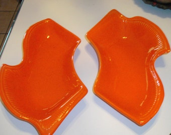 Mid Century Atomic Orange Serving Dishes
