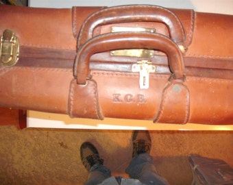 Vintage thick leather 40's 'KGB' suitcase