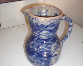 Cobalt Blue Clay kiln fired and glazed, hand thrown pitcher