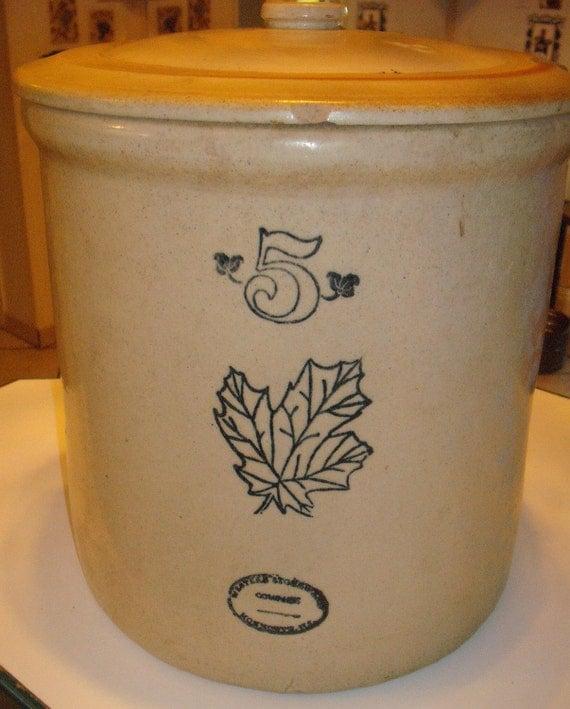 Salt Glazed Stoneware Crock 5 Gallon Monmouth, Ohio Cobalt Blue