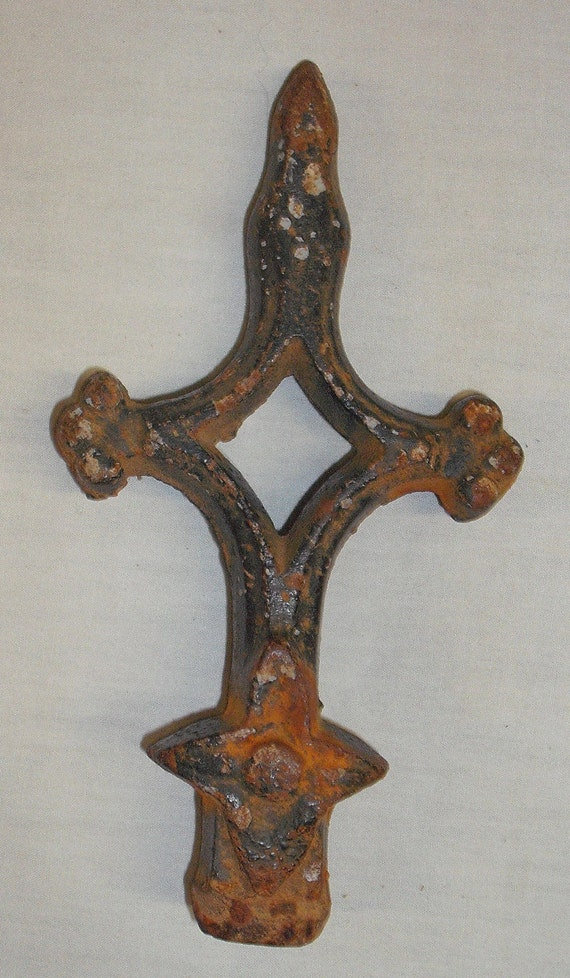 Vintage Cast Iron Gothic Fence Crucifix Architectural Salvage