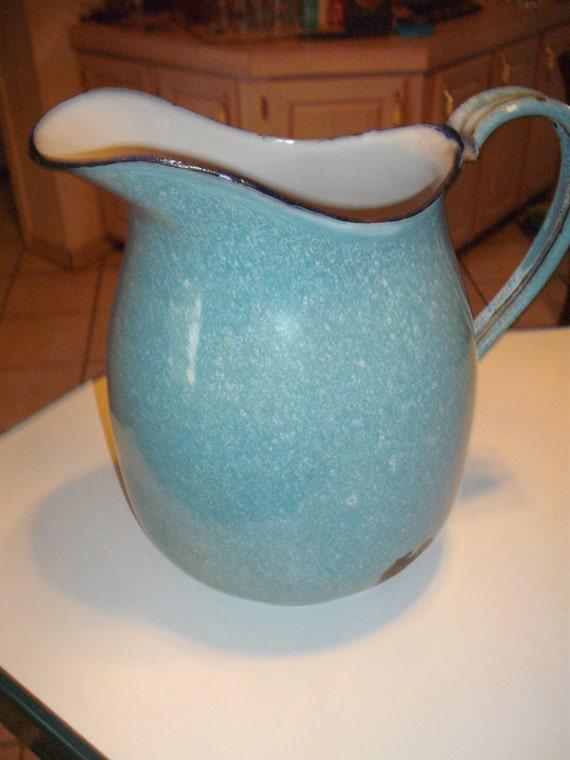 Graniteware speckled light blue enamelware