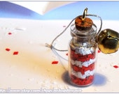 Christmas in a bottle - candy cane jingle bell decoration/ornament/pendant