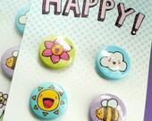 So Happy - Pinback Button Set