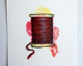 Original ACEO - Red Cotton Reel