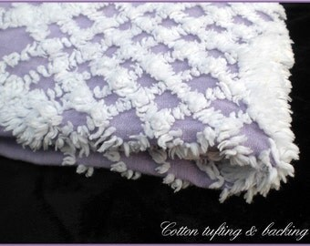 Lavender and white rings / Fat Quarter cotton chenille fabric