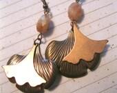 Copper and Sunstone Gingko Leaf Earrings