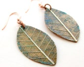 Handmade Natural Copper Earrings with a Real Rubber Tree Leaf