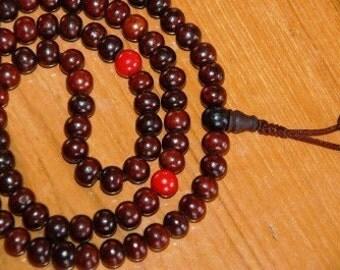 Rosewood mala prayer beads for meditation