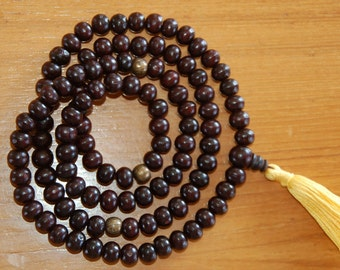 Rosewood 108 Bead Mala with Om Mani Brass Spacers for Meditation
