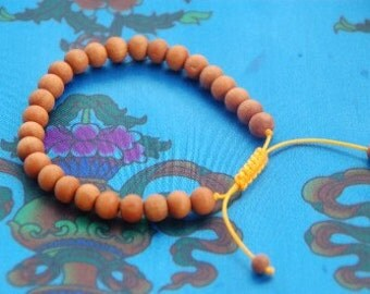 Tibetan Sandalwood Wrist Mala/ Bracelet for meditation yellow string