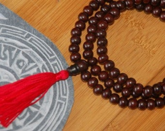 Tibetan Rosewood mala 8mm 108 beads for meditation with Red Tassel