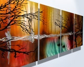 Metal Wall Art Tree Abstract Decor Contemporary Modern Sculpture Hanging Zen Nature Textured- Tree in Silhouette