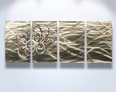 Metal Wall Art Abstract Decor Contemporary Modern Sculpture Hanging Zen Textured- Torrent