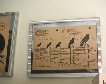 1950s crows on a fence target for wall art or shooting practice rail birds vintage hunting