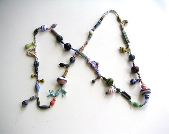 1990s crazy striped glass bead necklace opaque vintage glass stripe stripy red white blue yellow green pink