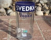 Blue Svedka Vase made from 1.5 liter vodka bottle