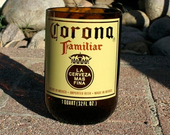 Corona Familiar Pint Glass made from a bottle