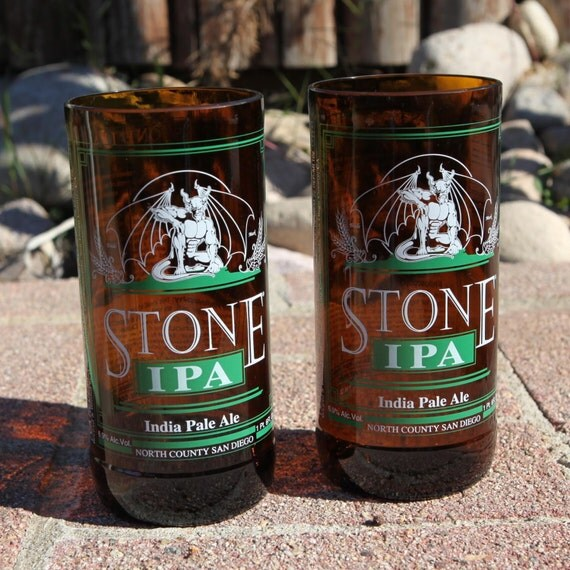 Stone Brewing IPA 16 oz Glasses made from beer bottles