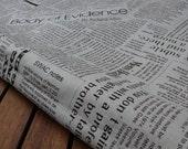 Newspaper print Linen cotton blended fabric - Half yard