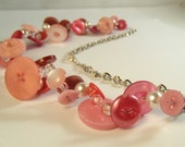 Pink Button Collector necklace