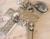 Vintage Blinged Key, Enameled Guardian Angel Cross, and Medal Rosary Necklace
