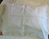 3 Crisp White LINEN PILLOW COVERS Lace Floral Insets, Raised Scrolls, Ruffled Scalloped Edges, Cases for Regular Size Pillows