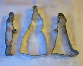 3 Vintage VICTORIAN or Edwardian Metal COOKIE CUTTERS, Christmas Tree, Lady, Man, Not the Usual Cutter, Larger Size