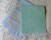 2 Flax LINEN FINGER TOWELS, Hand Woven Fringed Minis, Peach Teal Blue Soft Pastel Rainbow Color, Antique Edwardian Era Powder Room Pretty