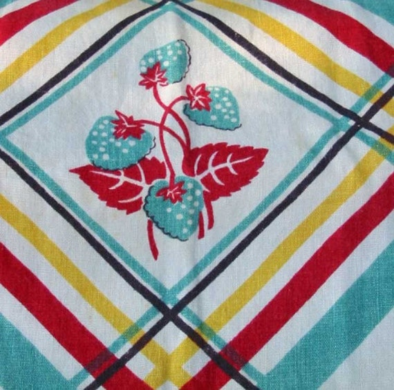 towel vintage kitchen turquoise red yellow black and white stripes