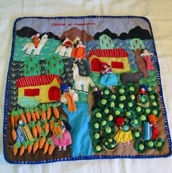 Peru Arpillera 3 D Ethnic Folk Art Wall Hanging Carrot
