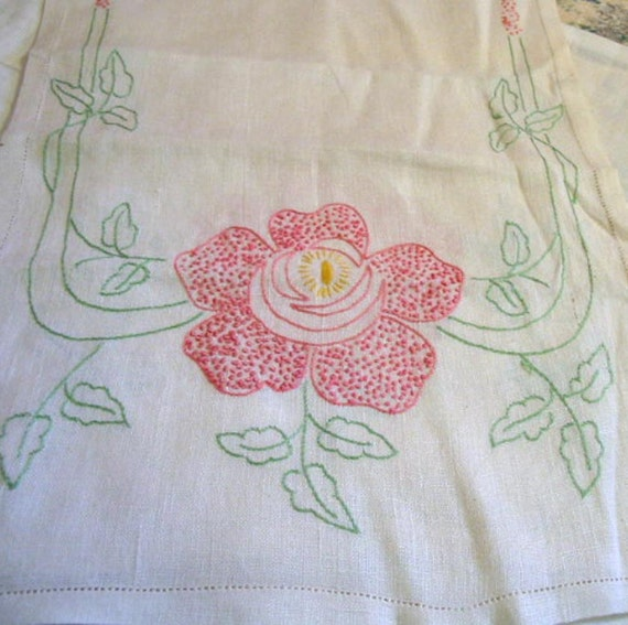 """2 French Knot PINK ROSE RUNNERS Table or Dresser Scarves, Hand Embroidered, Green Leaves Matched Pair, 1940s White Summer Linen 17"""" by 42"""""""