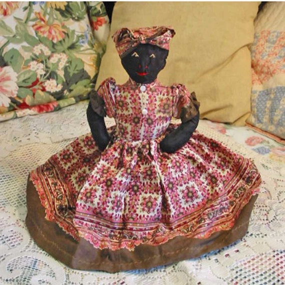 Darling Black Americana CLOTH RAG Doll, Brown Pink Paisley Dress and Head Scarf, mop Buttons, Satin Body, TP Cover, Rustic Folk Art