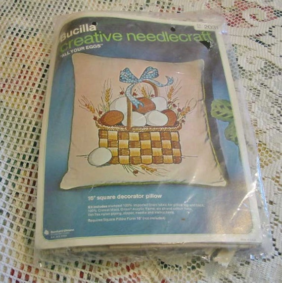 All YOUR EGGS in One BASKET Pillow Kit to Make, Crewel Embroidery, Bucilla Kit 2031, Never Opened, Fun Winter Project, Hand Needlework