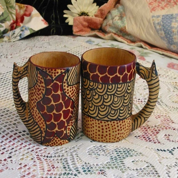 2 Hand Carved WOOD GIRAFFE MUGS Cups, Unusual Ethnic African Art, Hand Painted Earth Colors, Tan, Brown, Black, Africa